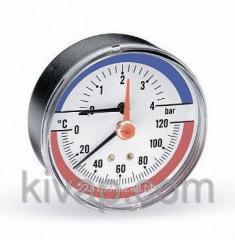 Термоманометр аксиальный, 80, 0-120С, 6 бар