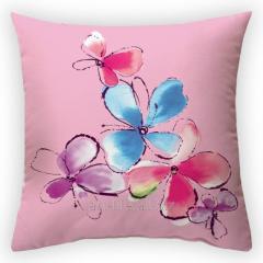 Design throw pillow Azure flower, art.