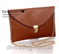 Clutch envelope handbag of Vega dark Brown