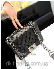 Женская сумка клатч Chanel black плетенная