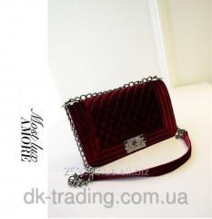Women bag Chanel Boy Velour Vine red