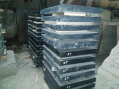 Plates from gabbro granite of 1200x600x80 mm