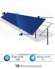 Land one supporting framework for 16 solar panels