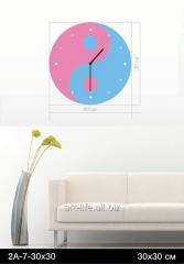 Stylish acrylic wall clock of 30x30 cm, art.