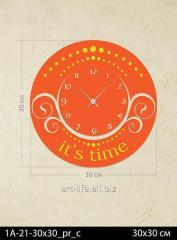 Stylish acrylic wall clock 30x30, art.