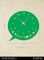 Stylish acrylic wall clock 31x29, art.