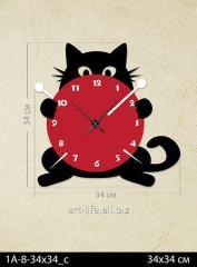 Stylish acrylic wall clock of 34x34 cm, art.