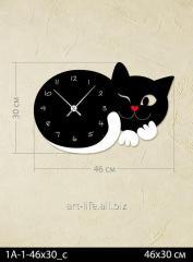 Stylish acrylic wall clock of 46x30 cm, art.
