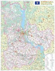 Настенная карта Киевской области 110x150 см, М1:200 000 - на картоне