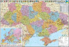 Wall administrative political map of Ukraine