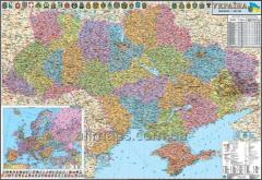 Wall administrative political map of Ukraine of