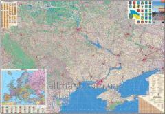Настенная карта автомобильных дорог Украины 160х110 см; М 1:850 000 - ламинированная/на планках