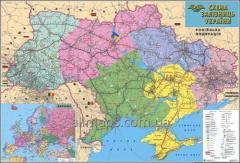Wall map of the railroads of Ukraine 110х80 cm;