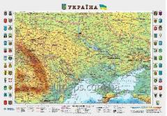 Wall survey Ukraine map 65 x 45 cm; M1:2 350 000