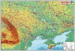 Wall physical map of Ukraine of 110х80 cm; M1:1