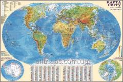 Настенная общегеографическая карта мира 160х110 см; М1:22 000 000 - ламинированная