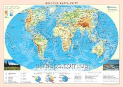 Wall physical map of the world of 65х45 cm; M1:55