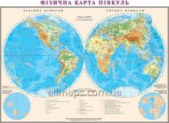 Wall physical map of hemispheres 160 x 110 cm;