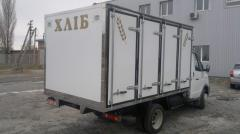 Motor vans for transportation of bakery products.