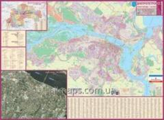 Dnipropetrovsk card, city map of 135х97 cm of M1: