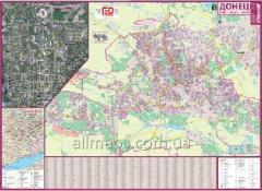 Card - Donetsk, city map of 135х97 cm the center