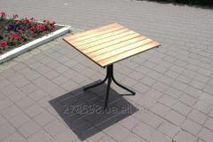 T-Classic-BL Table classique (en métal noir, bois clair)