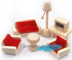 Мини–мебель 7, деревянная игрушечная мебель для гостиной
