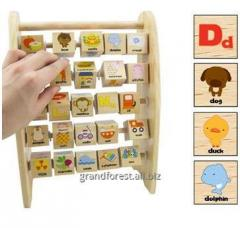 Моторика 13. Буквы/Слова. АНГЛ, развивающие игрушки из дерева