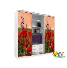 Vinyl stickers on a sliding wardrobe Poppies