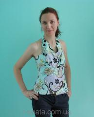 Blouse - a top from natural silk with an open back
