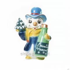 """Подарочная бутылка из керамики для алкогольных напитков, 1 литр """"Снеговик"""""""