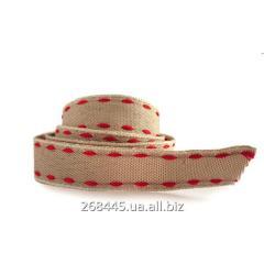 Лента декоративная светло-коричневая с красной