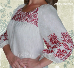 Blouse female BURGUNDI, manual embroidery