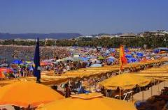 Canopies are shadow. The equipment of resort areas