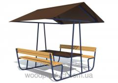 Стол со скамейками и навесом