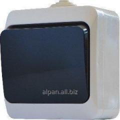 Выключатель одноклавишный с черной клавишей серии IP44N