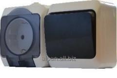 Блок-розетка c прозрачной крышкой + одноклавишный выключатель серии IP44N