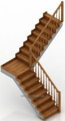 Лестница на деревянном каркасе площадка 90°