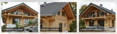 Houses from a wild log of the manual cabin in the