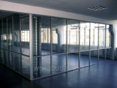 Office partitions stationary with blinds