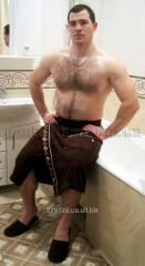 Set for a sauna of man's Nusa 040 brown, a
