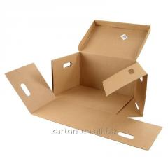 Box from a three-layer corrugated cardboard