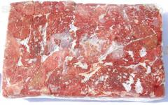 Beef and pork block, in half carcasses, cooled and