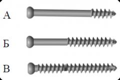 Spongiozny screw of 6,5 mm, screws spongiozny