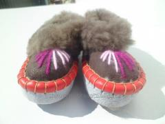 Slippers, female, from an embroidery, black, with