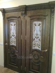 Double interroom door with glass