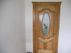 Interroom door with glass and decorative drawing