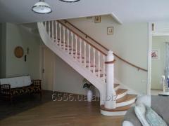 Деревянная белая лестница Эксклюзив