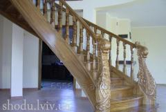 Classical wooden spiral staircase