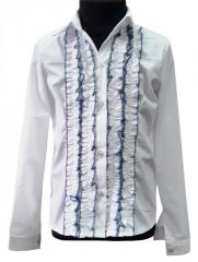 Blouse school with a long sleeve, white with blue,